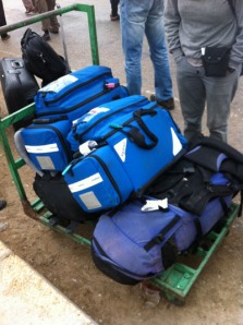 The trusty blue bags waiting at Rafah